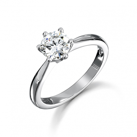 Platinum Brilliant Cut 6 Claw Diamond Engagement Ring
