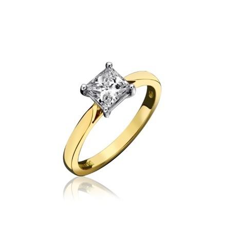 18ct Yellow Gold Princess Cut Diamond Engagement Ring 0.33ct