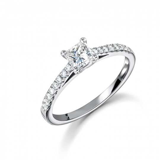 Platinum Princess Cut Diamond Solitaire Engagement Ring
