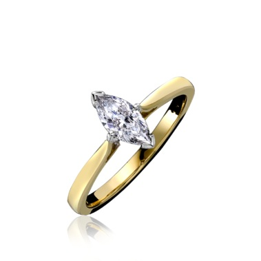18ct Yellow & White Gold Marquise Cut Diamond Engagement Ring 0.45ct