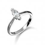 Platinum Marquise Cut Diamond Solitaire Ring 0.60ct