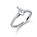 Platinum Marquise Cut Diamond Solitaire Ring with Diamond Shoulders