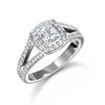18ct White Gold Briliant Cut Rail Engagement Ring
