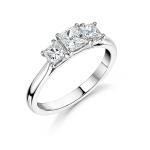 Platinum Princess Cut Diamond Trilogy Engagement Ring 1.00ct