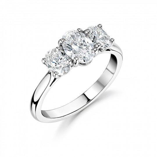 Platinum Oval Trilogy Engagement Ring