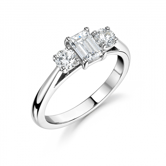 18ct White Gold Emerald Cut & Brilliant Cut Diamond Three Stone Engagement Ring 0.75ct
