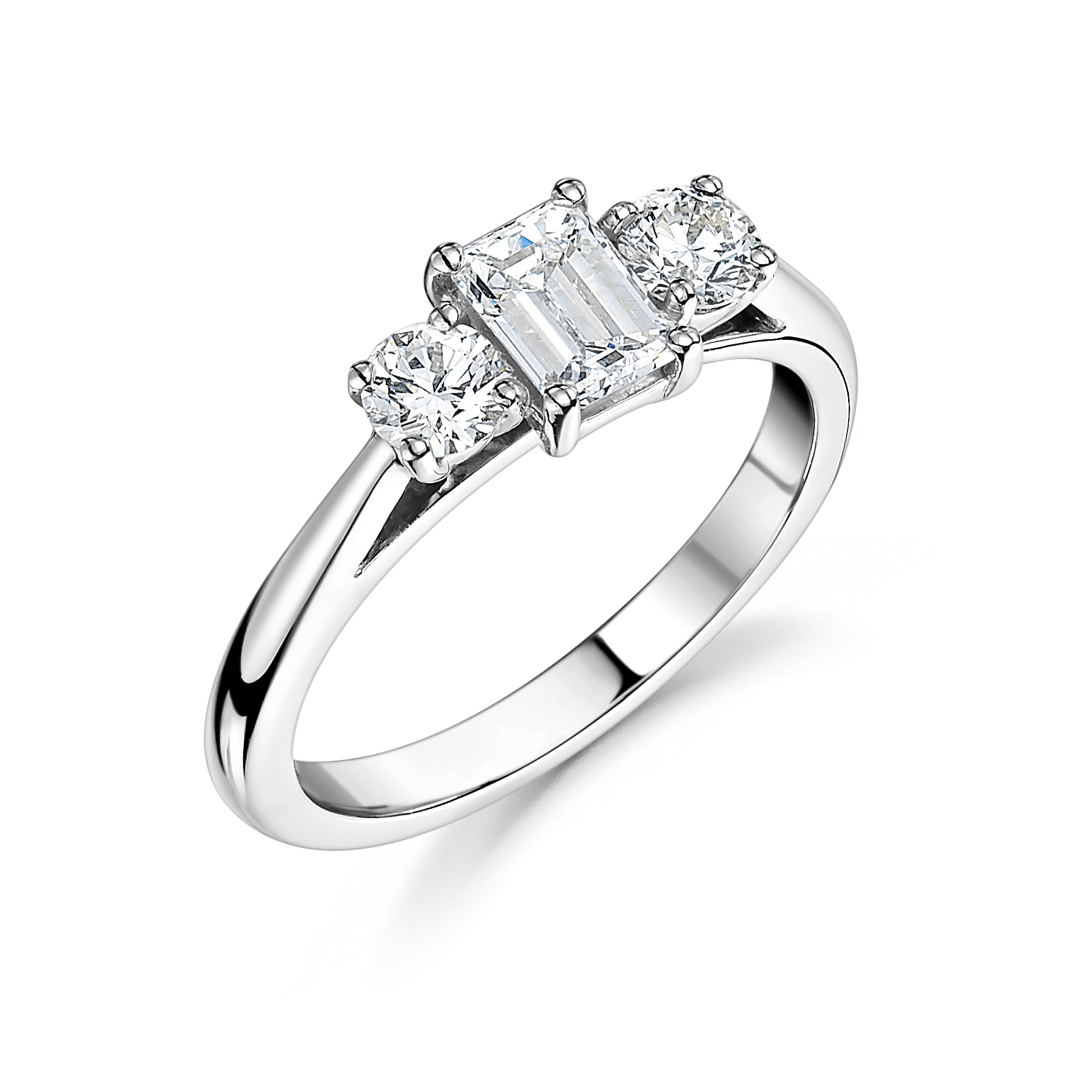c569a22d411f 18ct White Gold Emerald Cut   Brilliant Cut Diamond Three Stone Engagement  Ring 0.75ct