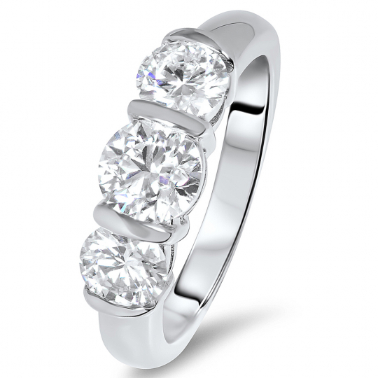 0.75ct 18ct White Gold Brilliant Cut Barset 3 Stone Diamond Ring