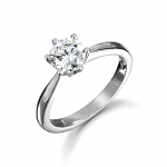 Platinum 6 Claw Brilliant Cut Diamond Ring