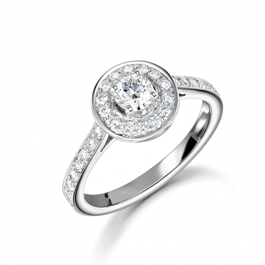Platinum Brilliant Cut Halo Engagement Ring