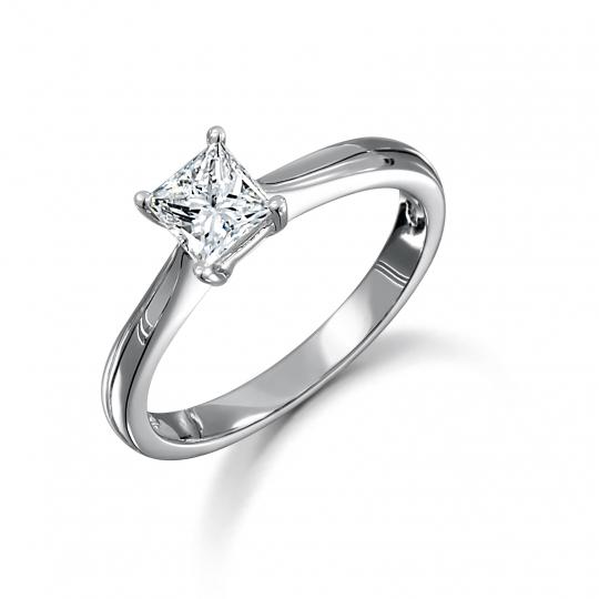 1.00ct Platinum Princess Cut Diamond Solitaire Ring