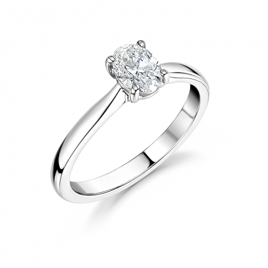 Platinum Oval Cut Diamond Solitaire Engagement Ring 0.50ct