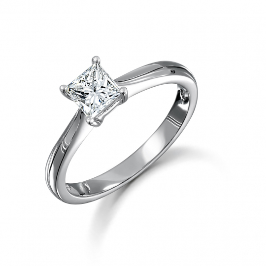 Platinum Princess Cut Solitaire Diamond Ring 0.70ct