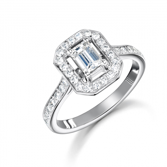 18ct White Gold Emerald Cut Rail Engagement Ring