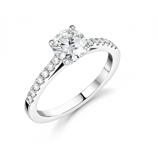 0.80ct Platinum Brilliant Cut Diamond Soliataire Ring with Brilliant Cut Diamond Shoulders