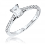 Platinum Emerald Pave Engagement Ring