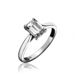 Platinum Emerald Cut Diamond Engagement Ring 0.25ct