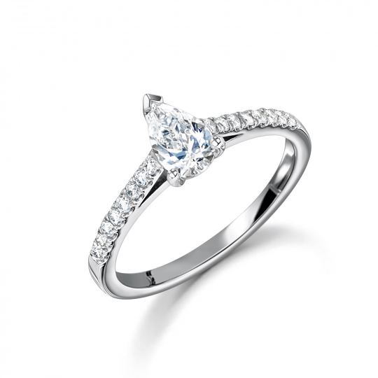 Platinum Pear Pave Engagement Ring