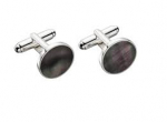 Silver Grey Mother of Pearl Round Cufflinks