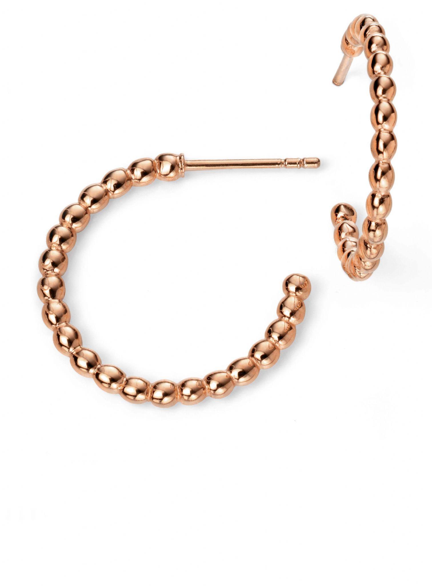 Rose Gold Plated Ball Hoop Earrings - johnmacintyre
