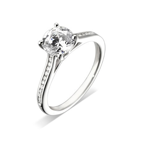 Platinum 0.50ct Brilliant Cut Engagement Ring
