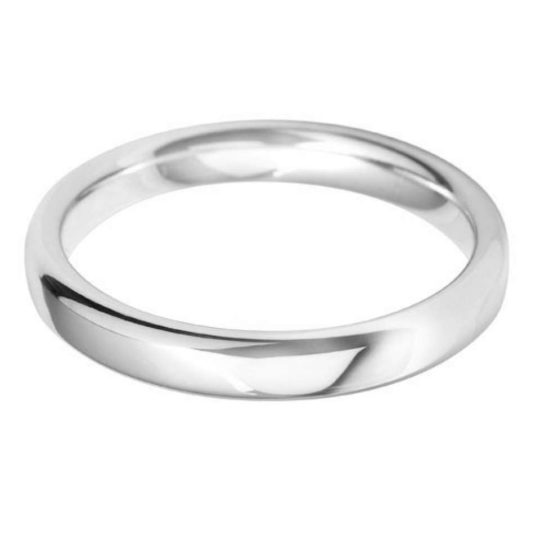 Ladies 9ct White Gold 3mm Court Wedding Ring