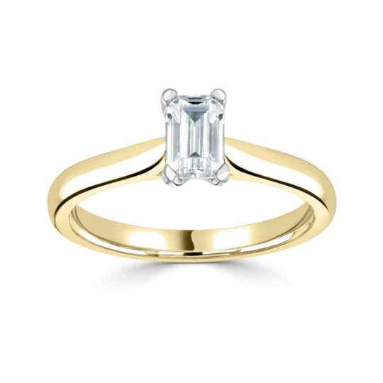 18ct Yellow Gold Emerald Cut Diamond Engagement Ring 0.40ct
