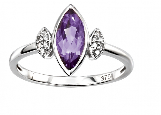 9ct White Gold Amethyst & Dia Pave Ring