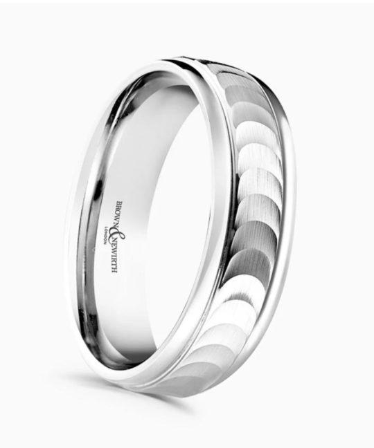 Gents Platinum 6mm Patterned Wedding Ring