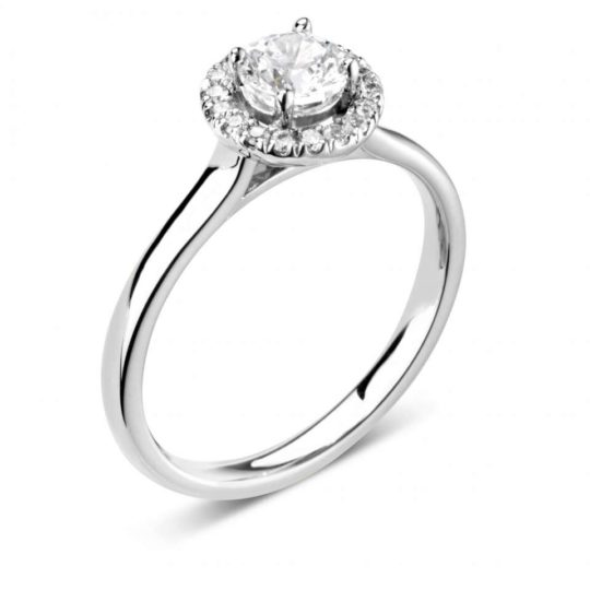 Platinum Brilliant Cut Diamond Halo Engagement Ring 0.63ct