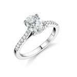 Platinum Oval Cut Pave Engagement Ring
