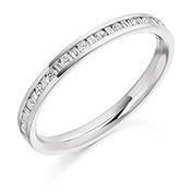 Platinum Brilliant Cut & Baguette Cut Diamond Channel Set Eternity Ring Diamond Weight 0.30ct
