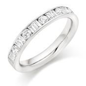 18ct Gold Brilliant Cut & Double Baguette Cut Diamond Channel Set Eternity Ring Diamond Weight 0.75ct