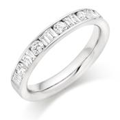 Platinum Brilliant Cut & Double Baguette Cut Diamond Channel Set Eternity Ring Diamond Weight 0.75ct