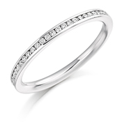 Platinum Brilliant Cut Diamond Channel Set Eternity Ring Diamond Weight 0.20ct