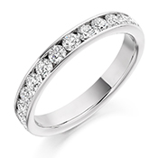 Platinum Brilliant Cut Diamond Channel Set Eternity Ring Diamond Weight 0.75ct