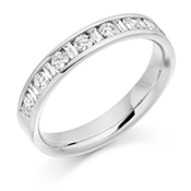 Platinum Brilliant Cut & Baguette Cut Diamond Channel Set Eternity Ring Diamond Weight 0.50ct