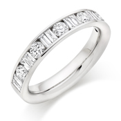Platinum Brilliant Cut & Double Baguette Cut Diamond Channel Set Eternity Ring Diamond Weight 1.00ct