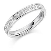 Platinum Princess Cut Diamond Channel Set Eternity Ring Diamond Weight 0.75ct
