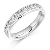 Platinum Brilliant Cut & Baguette Cut Diamond Channel Set Eternity Ring Diamond Weight 0.76ct