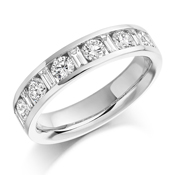 Platinum Brilliant Cut & Baguette Cut Diamond Channel Set Eternity Ring Diamond Weight 1.08ct