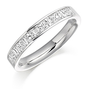 Platinum Princess Cut & Baguette Cut Diamond Channel Set Eternity Ring Diamond Weight 0.75ct