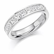 Platinum Princess Cut Diamond Channel Set Eternity Ring Diamodn Weight 1.50ct