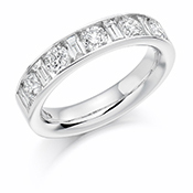 Platinum Brilliant Cut & Baguette Cut Diamond Channel Set Eternity Ring Diamond Weight 1.50ct