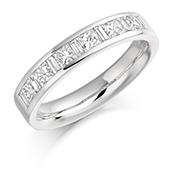18ct Gold Princess Cut & Baguette Cut Diamond Channel Set Eternity Ring Diamond Weight 1.00ct