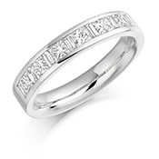 Platinum Princess Cut & Baguette Cut Diamond Channel Set Eternity Ring Diamond Weight 1.00ct