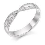 18ct White Gold Brilliant Cut Diamond Set Shaped Wedding Ring 0.25ct