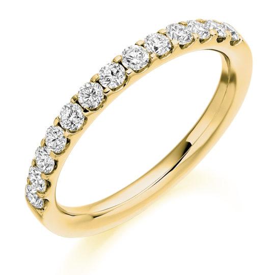 18ct Yellow Gold Brilliant Cut Diamond Micro Claw Set Half Eternity Ring 0.50ct