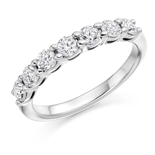 Platinum Brilliant Cut Diamond Seven Stone Eternity Ring 0.75ct