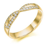 18ct Yellow Gold Brilliant Cut Diamond Set Shaped Wedding Ring 0.25ct